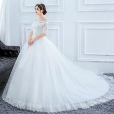 Beaded Bridal Gown Off Shoulder Cathedral Train Wedding Dress Elegant Lace Style