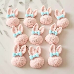 Pack of 10 Pink Easter Bunny Flatbacks, Resins for Bow Making, Embellishments