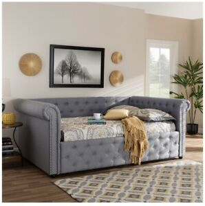 MABELLE MODERN AND CONTEMPORARY GRAY FABRIC UPHOLSTERED FULL SIZE DAYBED