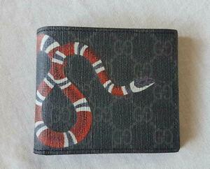 Gucci Men's Black/Grey GG Supreme Snake Bifold Wallet - Card Wallet