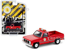 "1987 GMC HIGH SIERRA PICKUP RED ""PUBLIC WORKS"" ILLINOIS 1/64 BY GREENLIGHT 30213"
