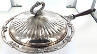 .LARGE / VINTAGE / QUALITY SILVERPLATE FOOD WARMER WITH WOODEN HANDLE.