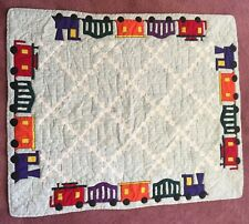 Baby Quilt Pieced Irish Chain Pattern Bordered by Appliqued Trains Handmade.
