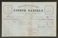 """LIMOGES (87) USINE de BOUCHONS en Liége """"Joseph BARSELO"""" en 1874"""