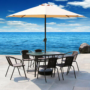 Bistro Glass Table Dining Coffee Stacking Chair Garden Outdoor w/Parasol Hole