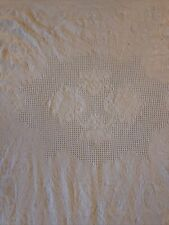 Vintage Cotton White Floral Matelasse Twin Coverlet Bedspread 1930's 72�