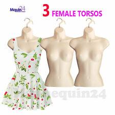 3 Pack Torso Mannequins Flesh Female Hanging Dress Body Forms