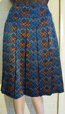 DKNY City Silk Skirt Sz 4 Blue-Brown-Cinnamon  Geometric Design ~Below Knee~NWT