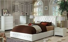 NEW MENTE DOUBLE/ QUEEN 3 PIECE BEDROOM SUITE - PU LEATHER   - BLACK OR WHITE