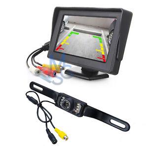 """Kit Retromarcia Monitor 4,3"""" Fisso con Retrocamera LED HD per Auto Camper Bus"""