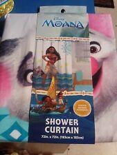 "DISNEY PRINCESS~MOANA W/ PUA PIG~SHOWER CURTAIN~72"" X 72"" CLOTH CURTAIN~NEW/PACK"