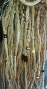 Set of 8 DREADLOCK BEADS & Bamboo Cord Dread Wraps Boho Hippie Wood Stone Bone