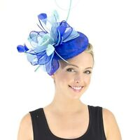 Jendi Ladies Blue & Aqua Formal Racing Wedding Oaks Day Fascinator Headband