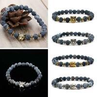 Männer Frauen Natürlicher Edelstein Perlen Lava Rock Löwe Armband Buddha St W0O7