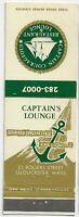 Front Strike Matchcover Captain's Lounge Seafood Restaurant Gloucester Mass