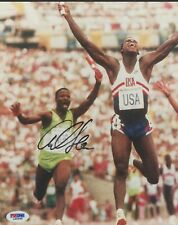 Carl Lewis Signed Olympic 8X10 Autographed Photo (PSA Auth) Gold Medal USA