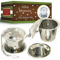 Good Moments Loose Leaf Stainless Steel Tea Infuser Set (2) with Drip Trays
