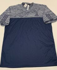 Adidas Navy Blue climalite 3-stripe Mens Tee Poly blend Large