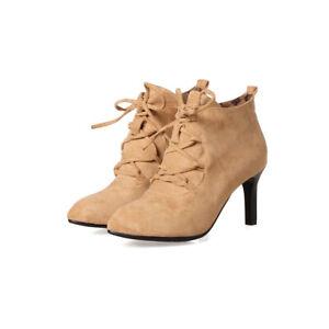 Sexy Damenpumps Spitz Schnürer Reißverschluss Stiefeletten Stiletto Schuhe 32-46