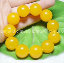 "Huge 20mm Rare Yellow South America Topaz Gems Ball Beads Bracelet 7.5"" J130"