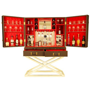 Home Standing Bar Cabinet Genuine Leather Liquor Holder