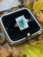 Art Deco Emerald and Diamond Platinum Ring 0.50ct + 0.70ct Emerald