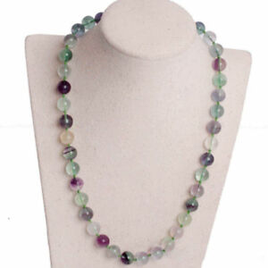 Handmade 10mm Natural Multicolor Fluorite Round Gemstone Beads Necklace 22''
