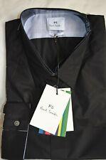 Paul Smith Smart Tailored Fit Plain Black Cotton Men's Dress Shirt Sizes: M L XL
