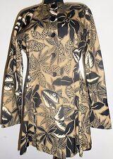 Escada Peplum Jacket 6 36 Silk Black Brown Beige Safari Jungle Vintage Hapachico