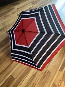 Zara Accessories Black/Red/White Striped Folding Umbrella NEW w/Tag