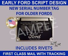 BLANK Ford Serial Vin Number EARLY STYLE ID DATA PLATE DOOR FIREWALL TAG U.S.A.