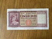 REPUBBLICA ITALIANA BANCONOTA LIRE 500 ITALIA 23 3 1961 NON COMUNE
