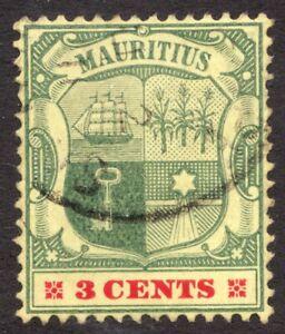 Sc#130 - Mauritius - 1904 - 3c - Coat of Arms - Used VF -  superfleas - cv$10.50