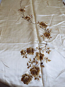 VTG HAND EMBROIDERY SILK PANEL CHINESE ROSE FLORAL FABRIC TEXTILE 27X94