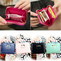 Women Leather Small Wallet Card Holder Zip Coin Purse Clutch Handbag US Stock