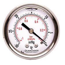 """2"""" Oil Filled Vacuum Pressure Gauge - SS/Br 1/4"""" NPT Center Back -30HG/0"""