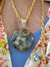 """Authentic Vintage Gold Tone 53"""" Rope Chain w/Domed Intaglio Flower GLASS Slide"""