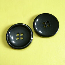 15  Large Big Coat Jacket Overcoat Sew On Buttons 30mm 48L Shiny Black L194