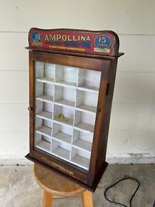 W6) Vintage AMPOLLINA Dye Display Showcase Old Country Store Counter
