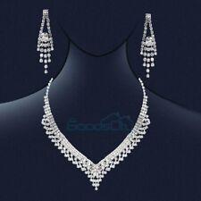 Luxury Wedding Bridal Crystal Rhinestone Women Necklace Earrings Set Jewelry
