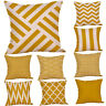 Hot Mustard Pillow Case Yellow Geometric Fall Cushion Cover Decorative UK