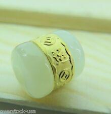 CERTIFIED 24K Gold Lucky Tube Natural Hetian Jade Oblong Pendant (Nephrite)