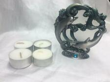 2 Dolphins pewter tea-light scene candle holder #50259 w/ 4 candles waves,ocean