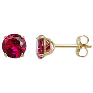 Yellow Gold Ruby Earrings Solitaire 375 9 Carat New Boxed