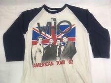 THE WHO 1982 American Tour Concert Vintage T Shirt 1980s Raglan Jersey Shirt L