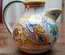 "ITALIAN ART POTTERY DRAGON ASSISI DERUTA STYLE PITCHER JUG 7"" H VINTAGE MAJOLICA"