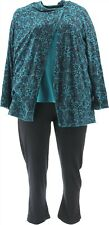Carole Hochman Floral Lace Waffle Fleece 3-Piece Pajama Set Teal L NEW A294081