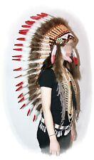 Indianer Federhaube XL Kopfschmuck WEISSE Federn ca. 110 cm. rote Spitzen