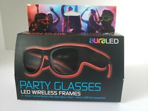 Tzumi auraLED Neon Glow RED PARTY GLASSES 3 Mode Wireless Frames *NEW*