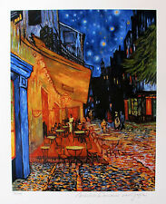 "VINCENT VAN GOGH ""THE TERRACE CAFE"" Estate Signed Limited Edition Giclee Art"